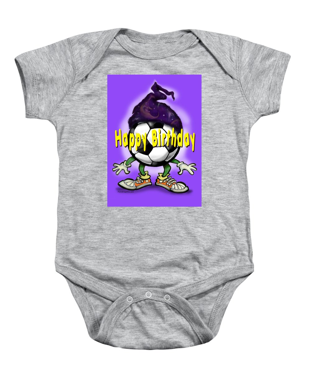 Soccer Baby Onesie featuring the greeting card Happy Birthday Soccer Wizard by Kevin Middleton
