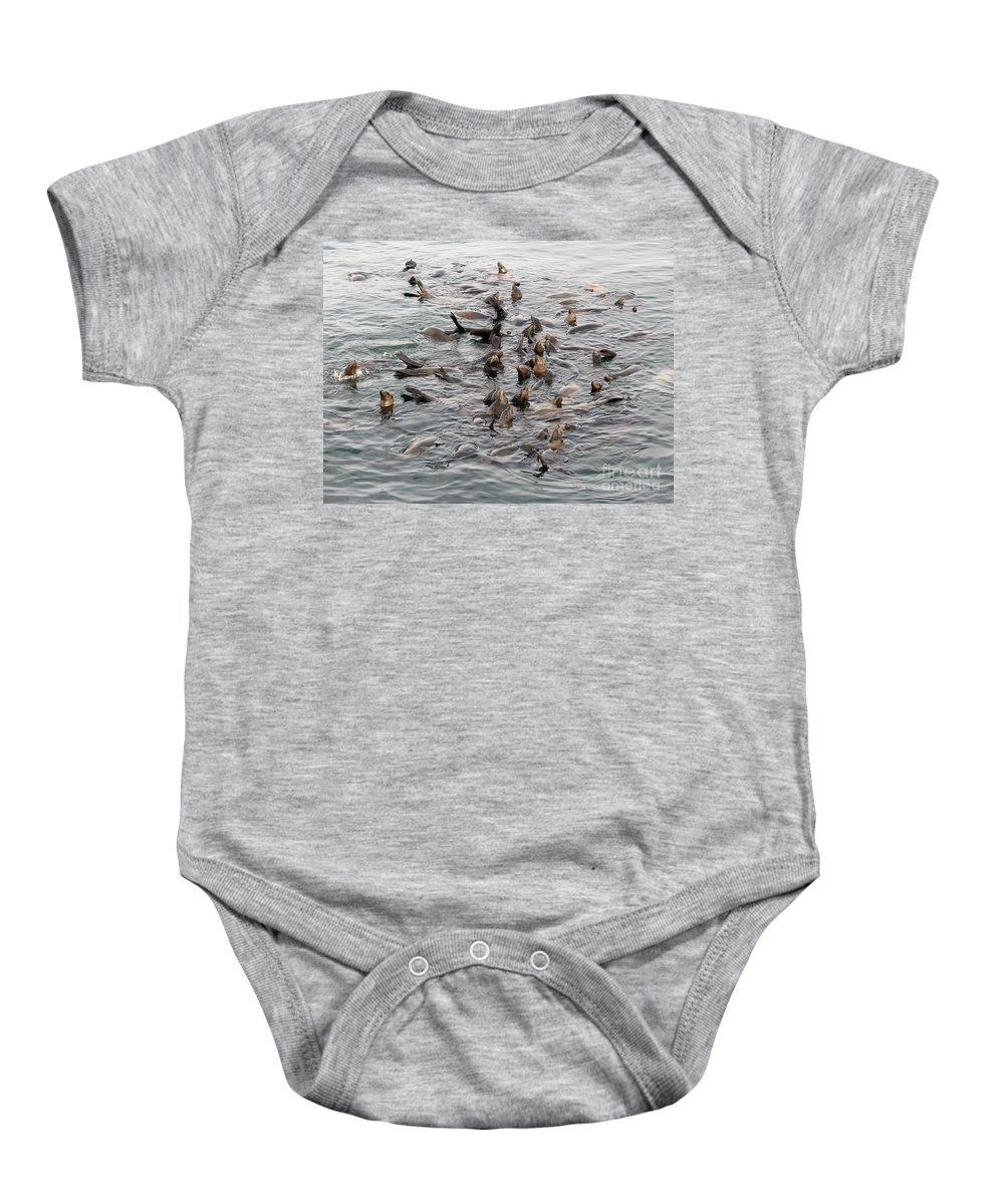 Baby Onesie featuring the photograph Happy Harbour Seals by Carol Groenen