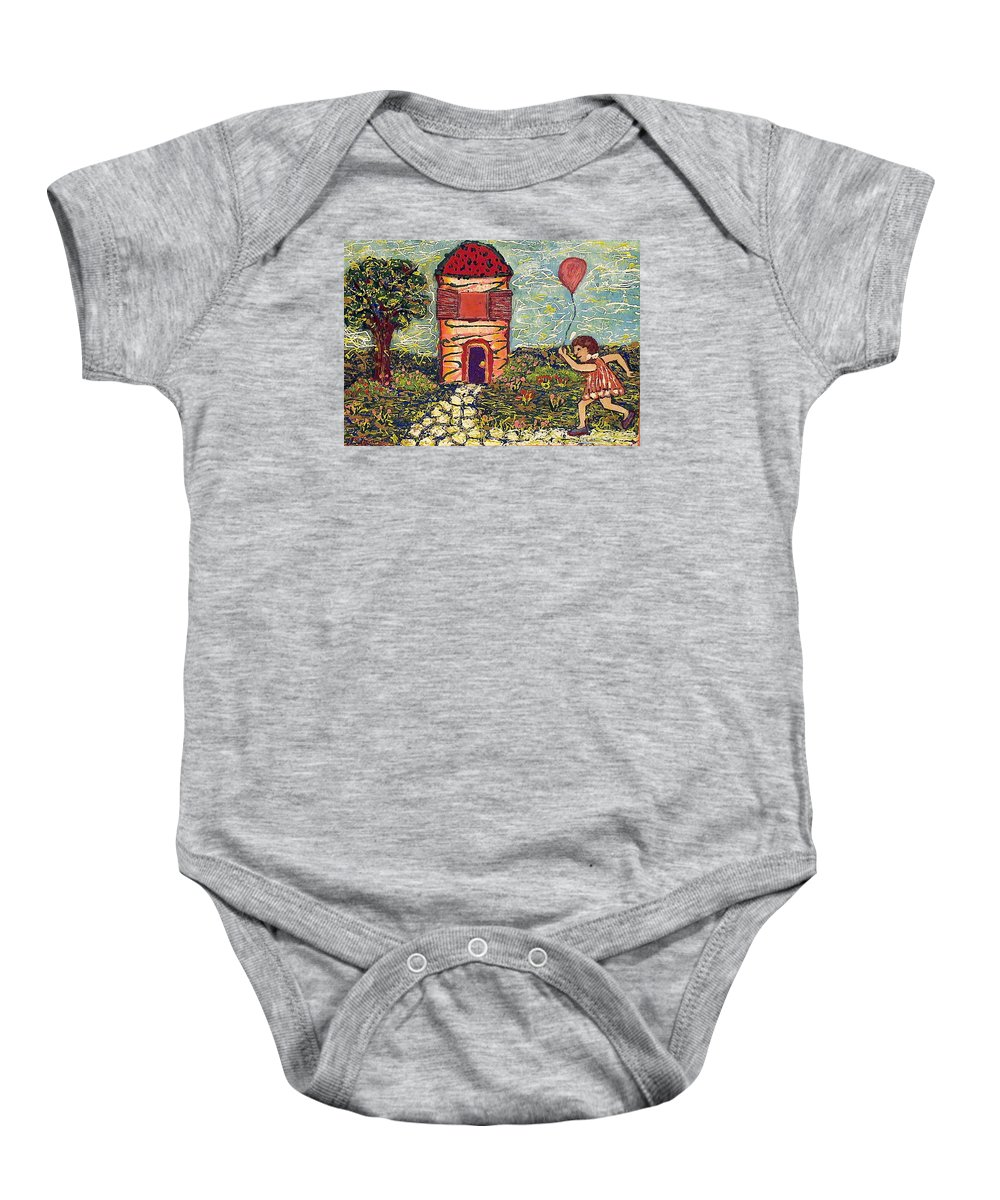 Nature Baby Onesie featuring the painting Happy In The Garden by Ioulia Sotiriou