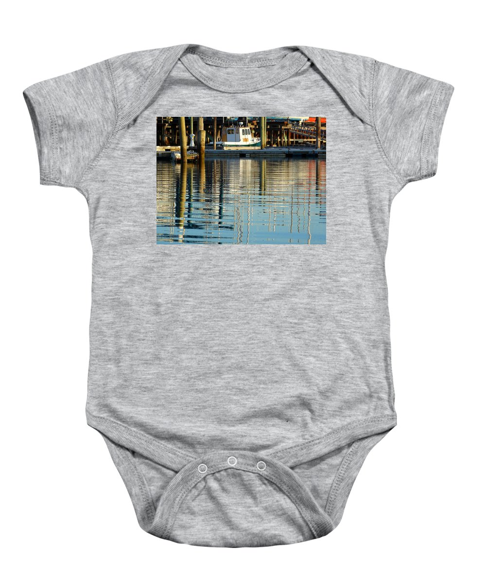 Boats Baby Onesie featuring the photograph Harbor Reflections by Dianne Cowen