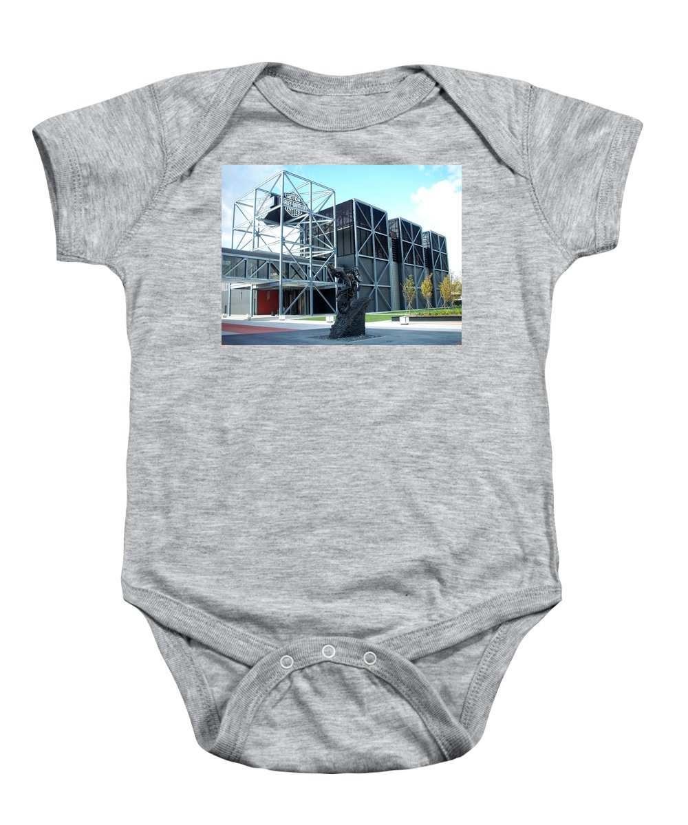 Architechture Baby Onesie featuring the photograph Harley Museum And Statue by Anita Burgermeister