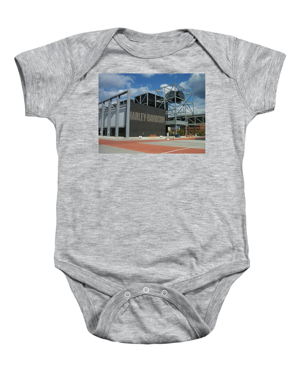Baby Onesie featuring the photograph Harley Museum by Anita Burgermeister