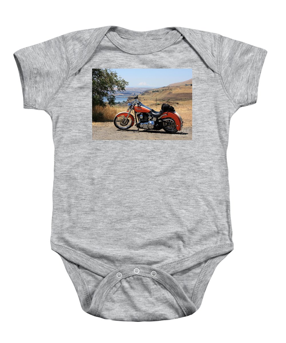 Washington State Baby Onesie featuring the photograph Harley With Columbia River And Mt Hood by Carol Groenen