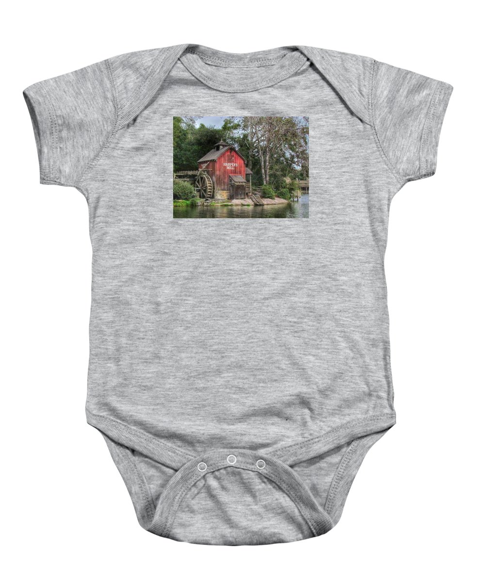 Walt Disney World Baby Onesie featuring the photograph Harpers Mill by Stuart Rosenthal