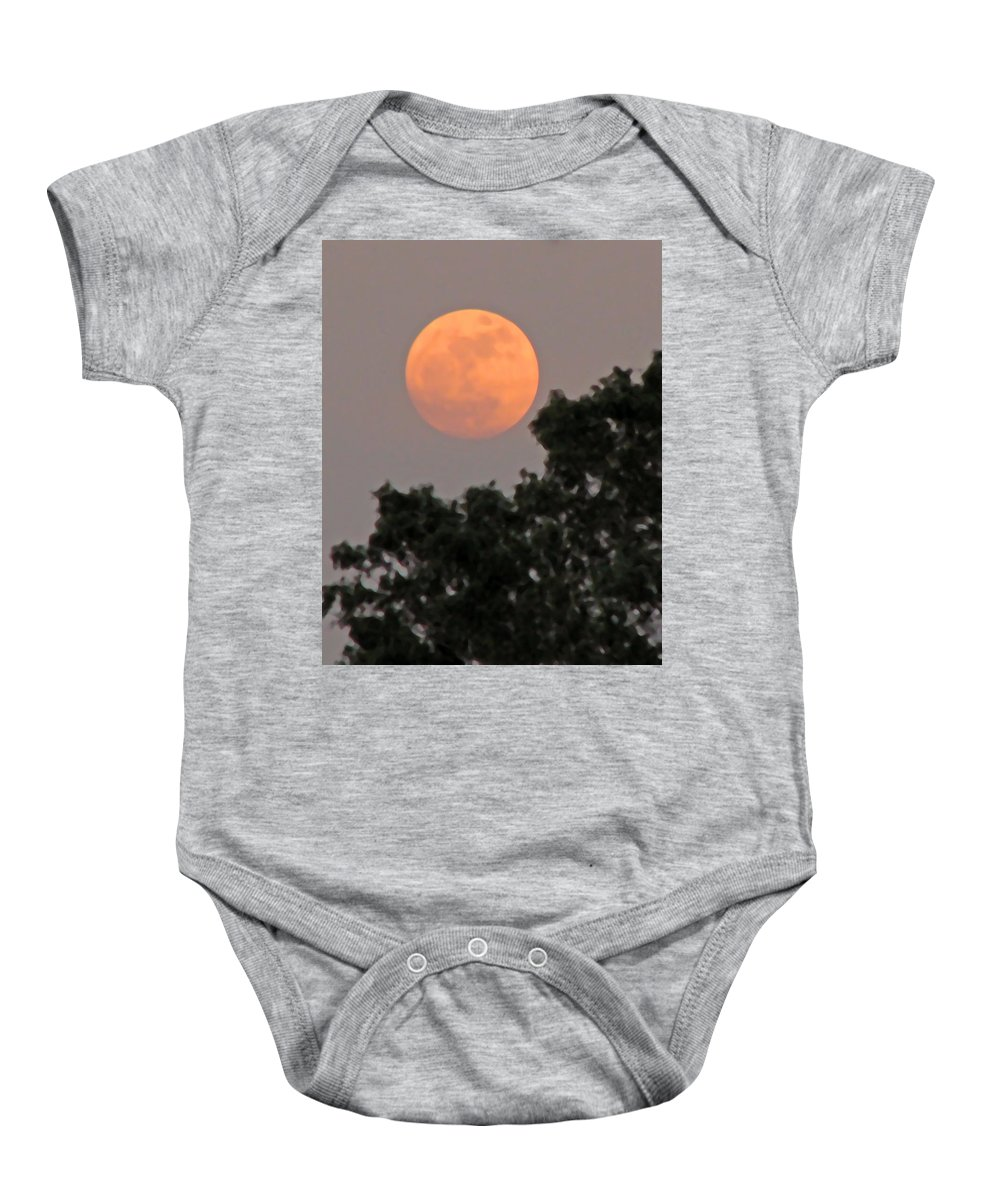 Moon Baby Onesie featuring the photograph Harvest Moonrise by Peg Urban