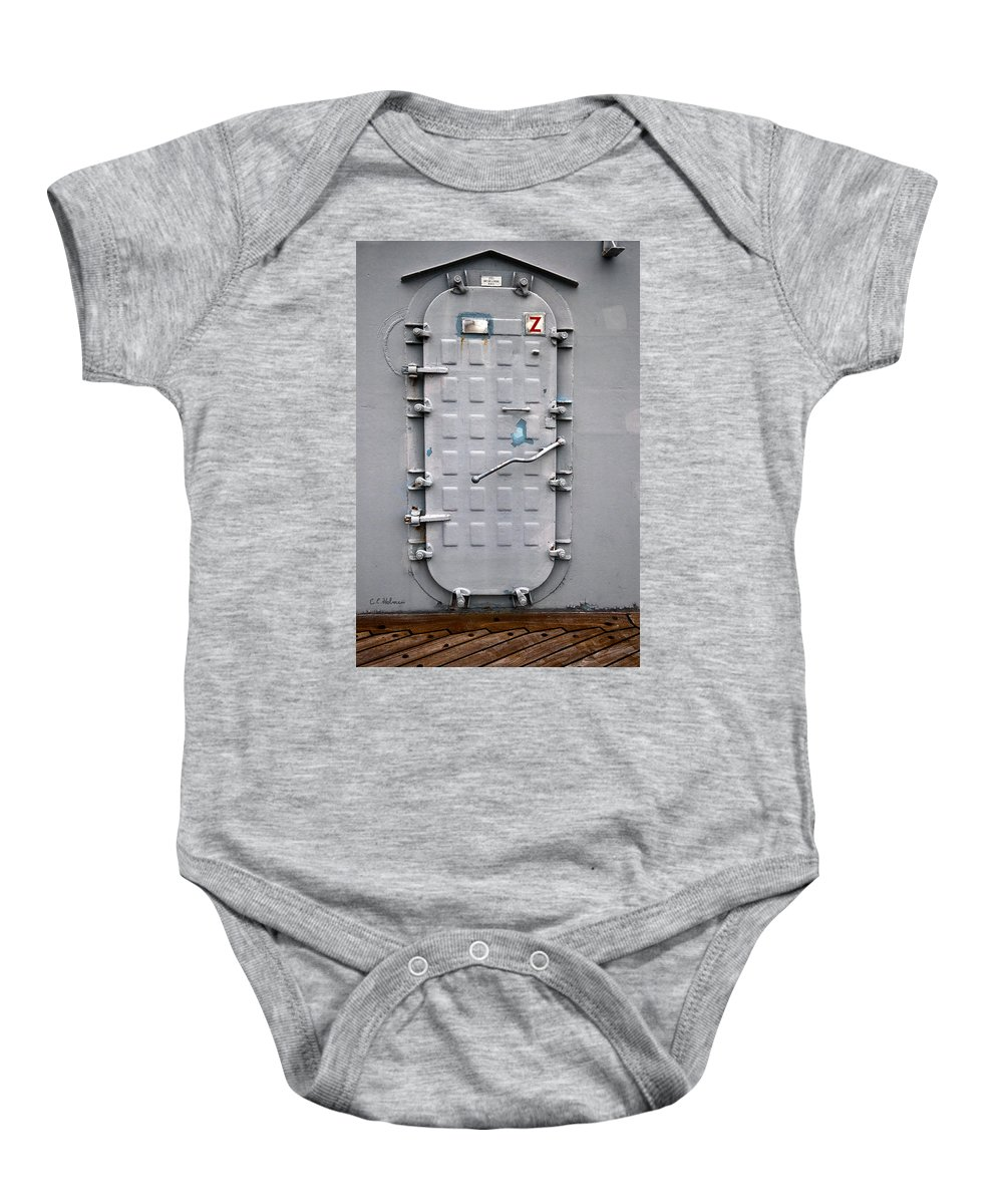 Ship Baby Onesie featuring the photograph Hatch Secured by Christopher Holmes