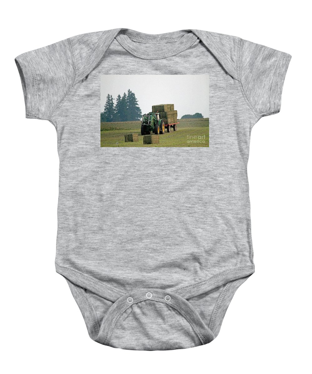 Farm Baby Onesie featuring the painting Hauling Hay At Dusk by J McCombie