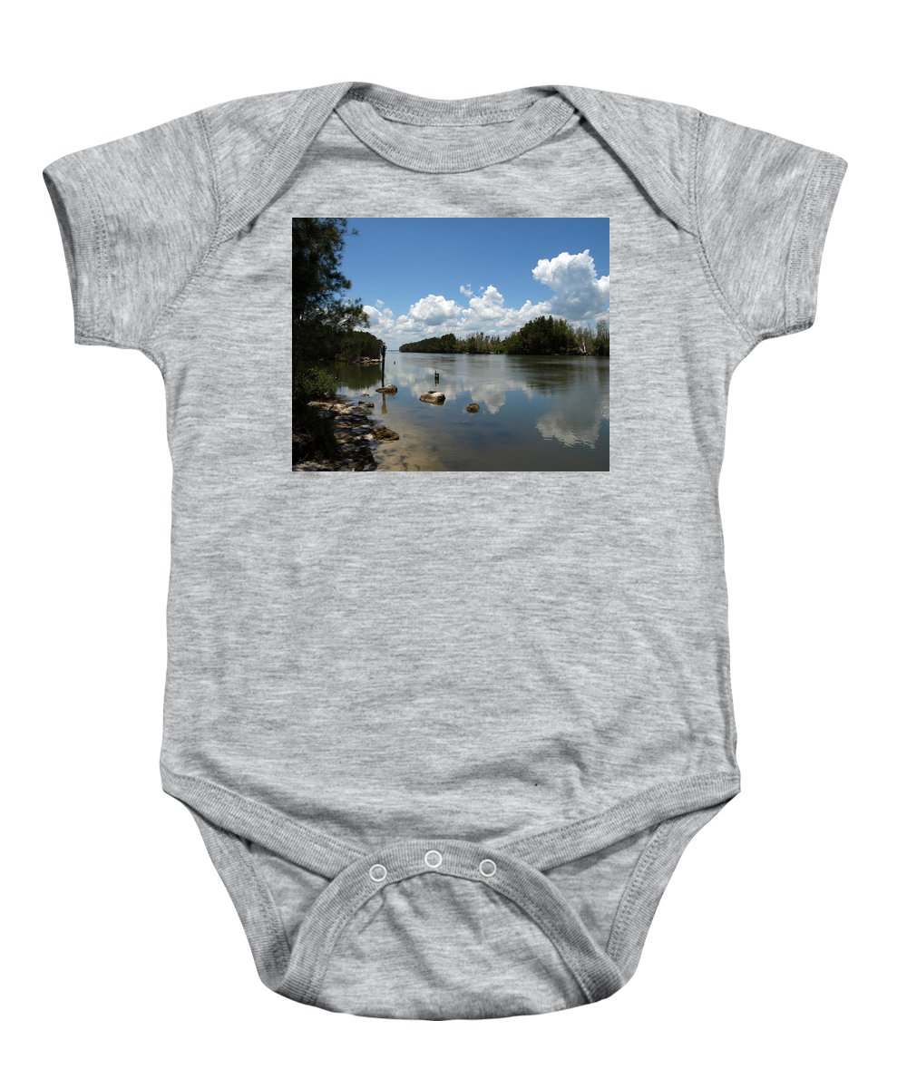 Eco-tourist; Ecotourist; Eco; Tourist; Kayak; Manatee; Sea; Cow; Ecology; Environment; Endangered; S Baby Onesie featuring the photograph Haulover Canal On The Space Coast Of Florida by Allan Hughes