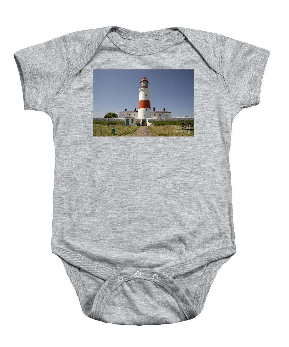 Lighthouse Baby Onesie featuring the photograph Haunted Lighthouse. by Elena Perelman
