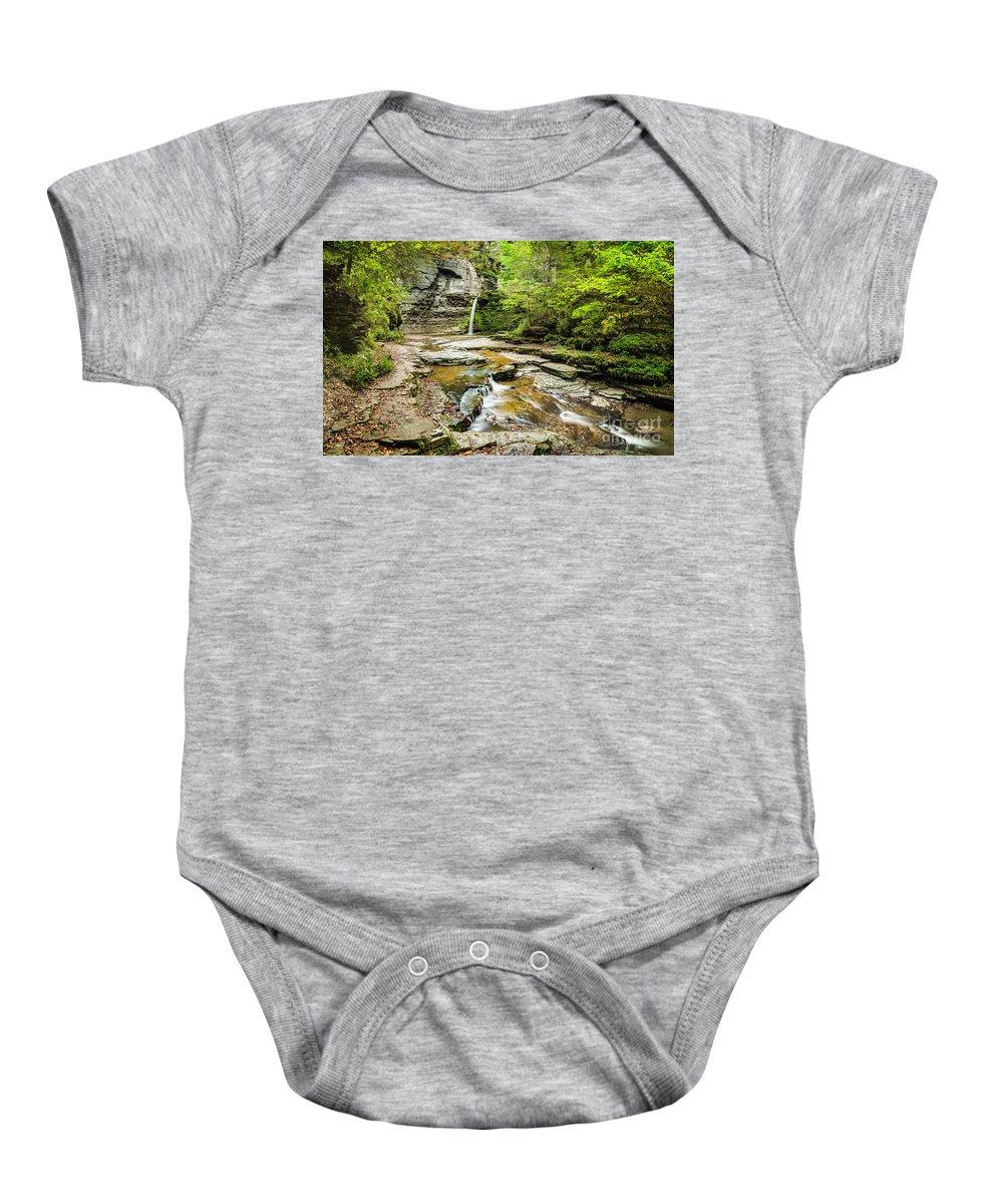New York Baby Onesie featuring the photograph Eagle Falls by Karen Jorstad