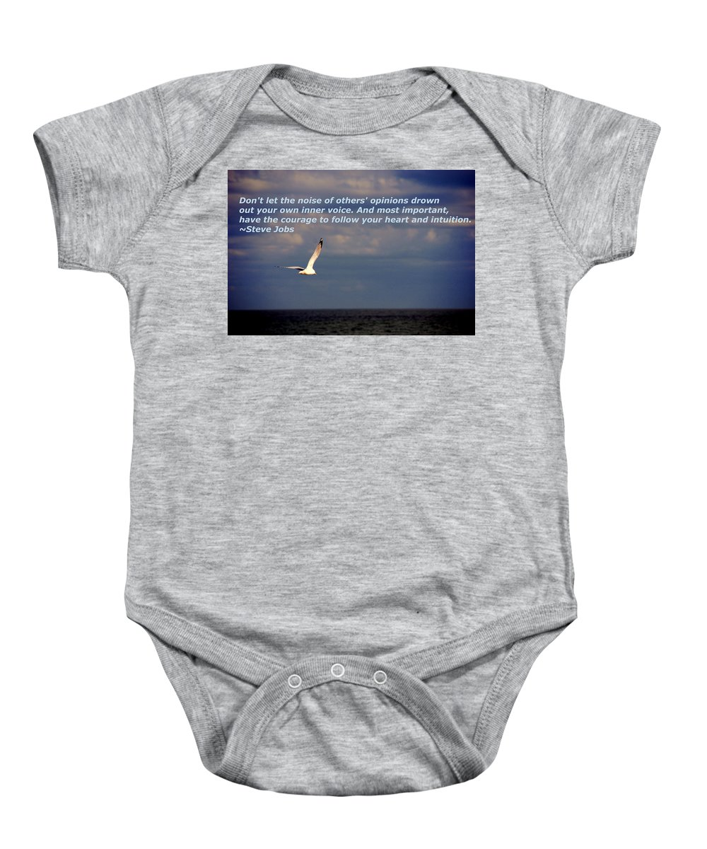 Steve Jobs Baby Onesie featuring the photograph Have The Courage To Follow Your Heart by Susanne Van Hulst