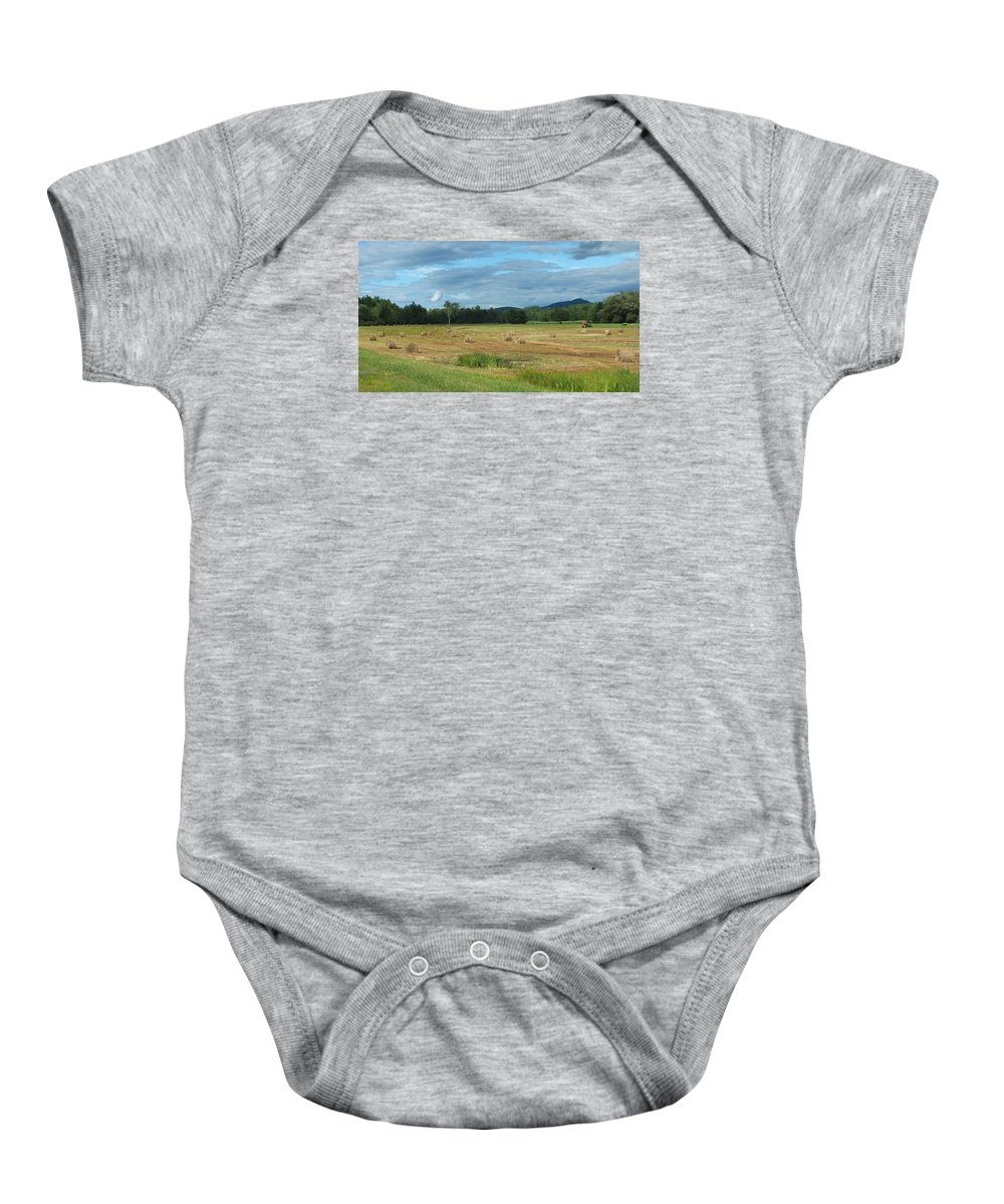 Landscape Baby Onesie featuring the photograph Hay Fields In The Adirondacks by Patricia Fitz-Gerald