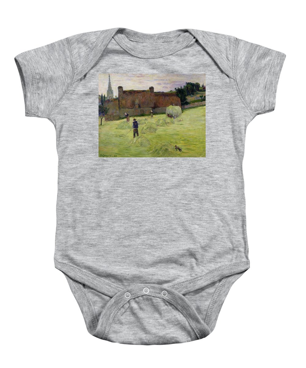 Haymaking In Brittany Baby Onesie featuring the painting Haymaking In Brittany by Paul Gauguin