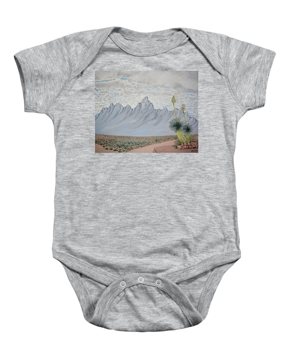 Desertscape Baby Onesie featuring the painting Hazy Desert Day by Marco Morales