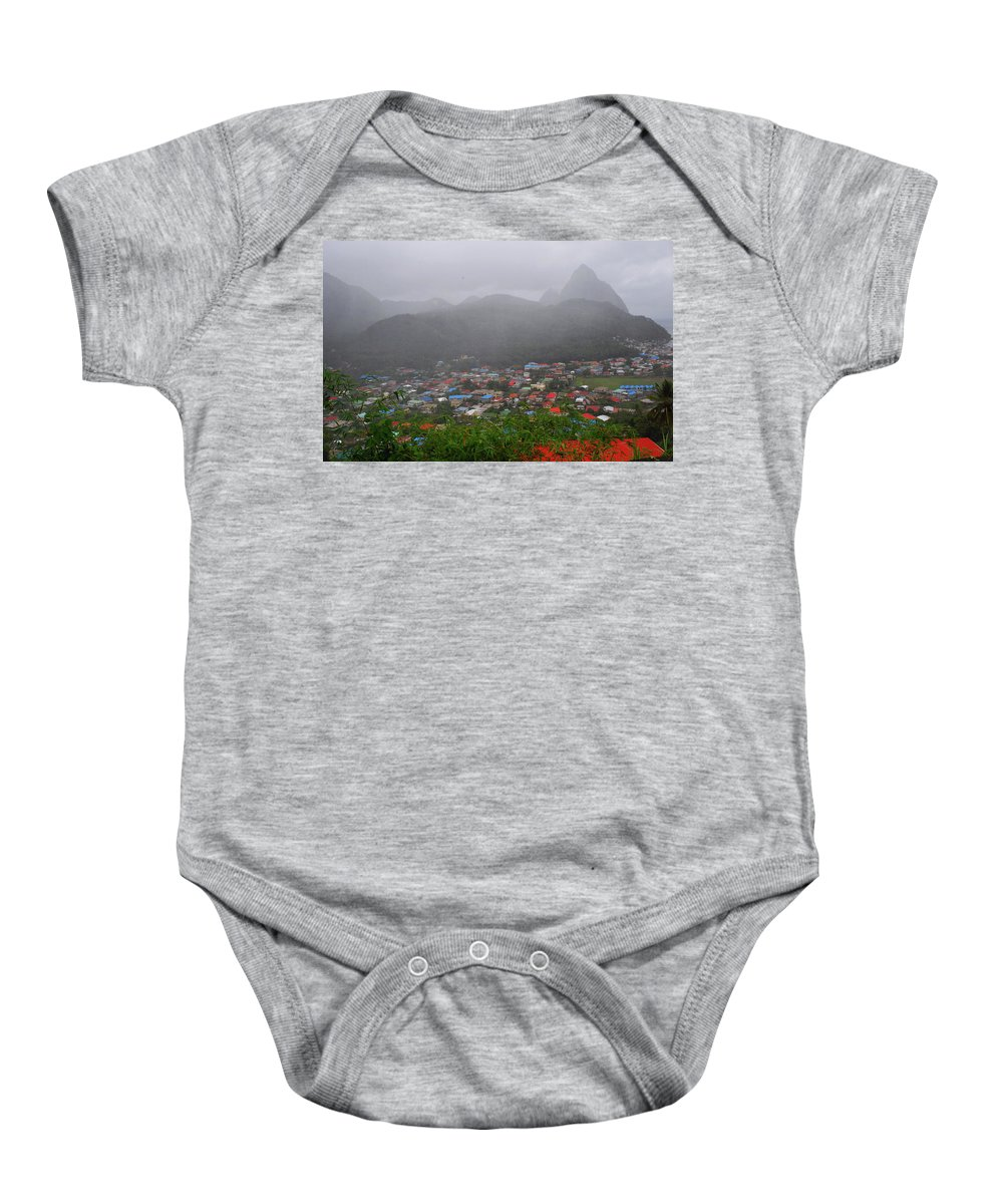 St. Lucia Baby Onesie featuring the photograph Hazy Pitons by Gary Wonning