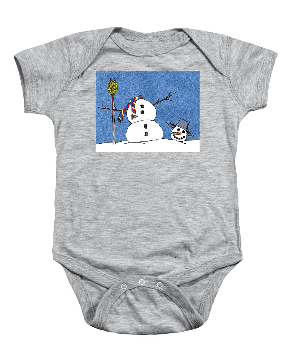 Snowman Baby Onesie featuring the digital art Headless Snowman by Nancy Mueller