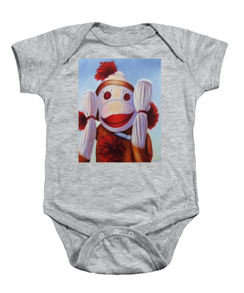 Children Baby Onesie featuring the painting Hear No Bad Stuff by Shannon Grissom