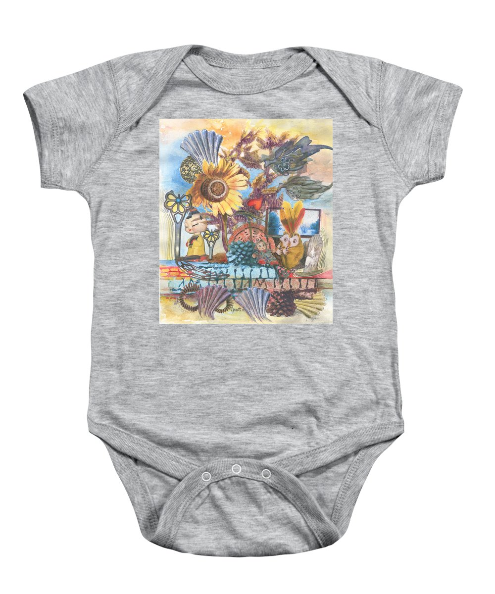 Abstract Baby Onesie featuring the painting Heart And Soul by Valerie Meotti