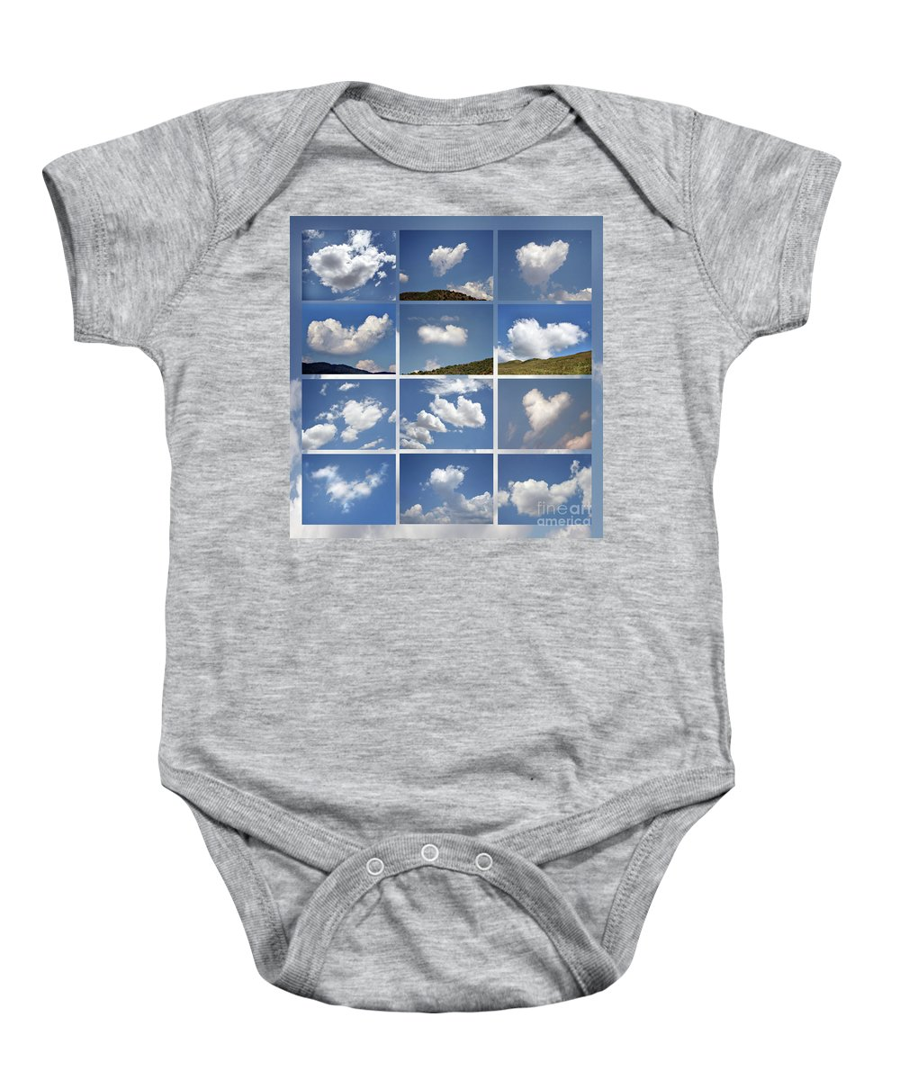 Cloud Baby Onesie featuring the photograph Heart Shaped Clouds - Collage by Daliana Pacuraru