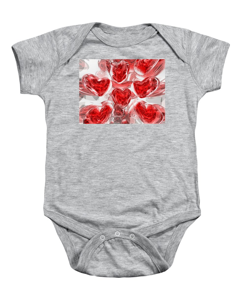 3d Baby Onesie featuring the digital art Hearts Afire Abstract by Alexander Butler