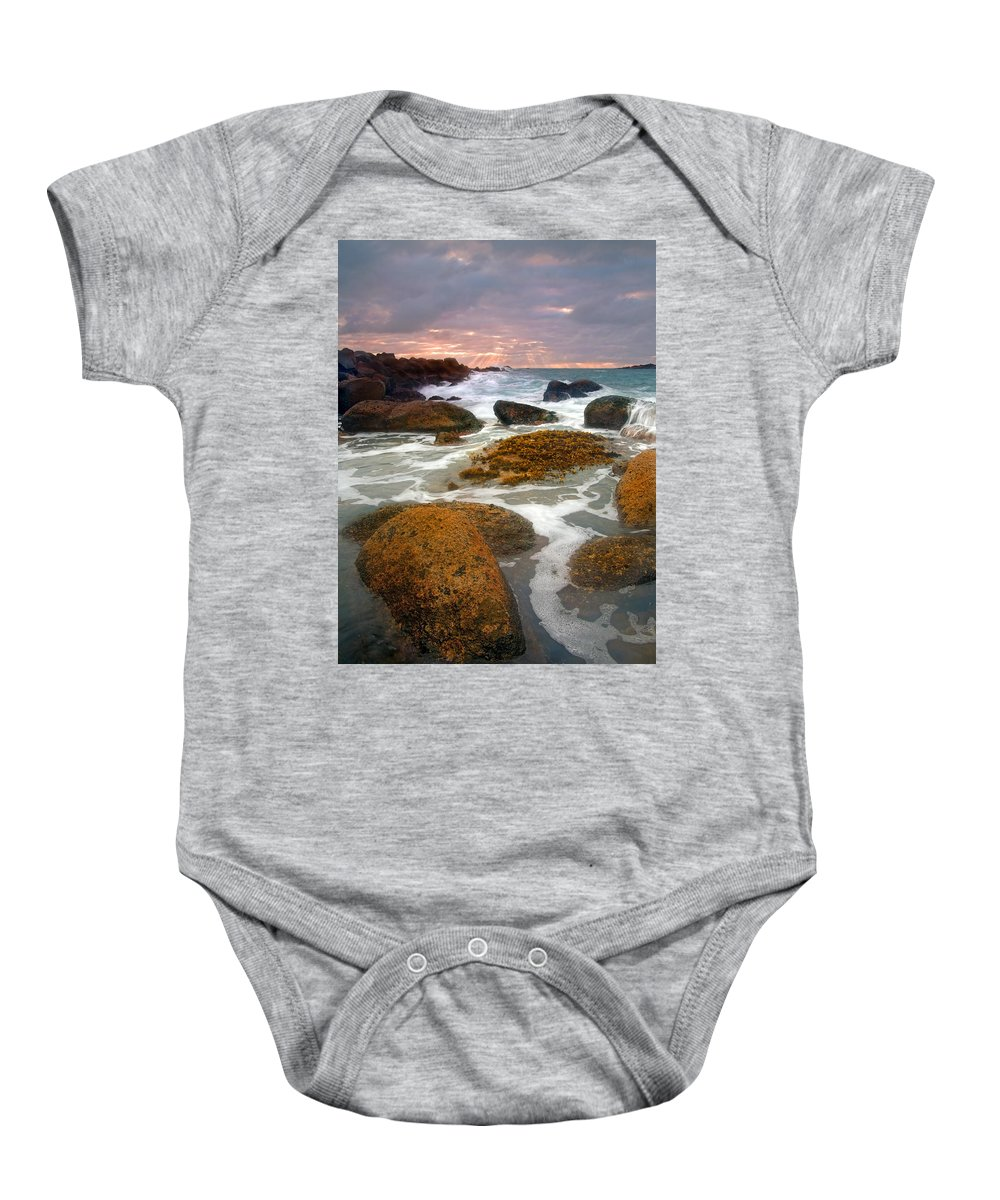Sunrise Baby Onesie featuring the photograph Heavenly Dawning by Mike Dawson