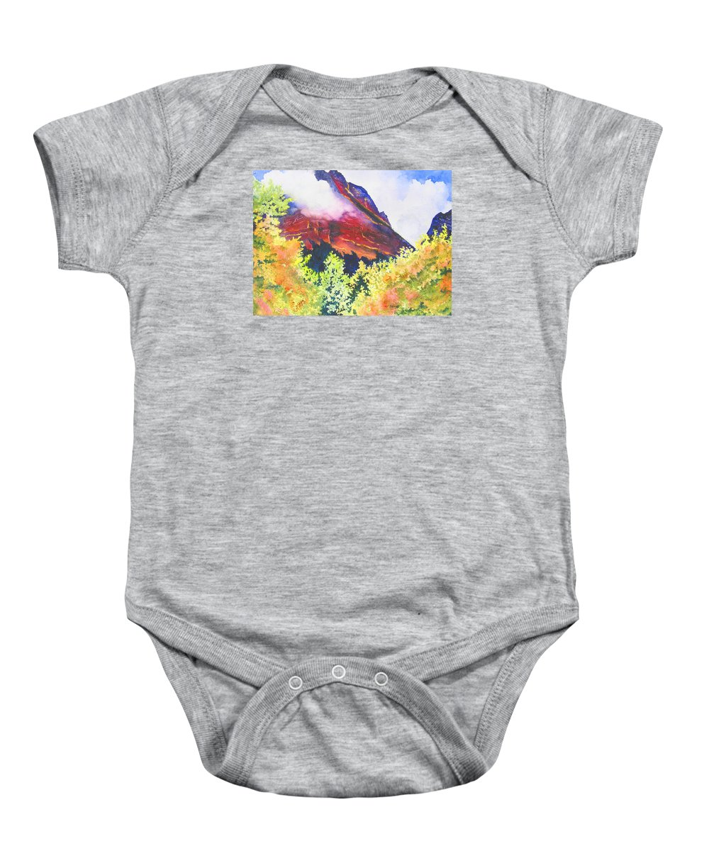 Mountain Baby Onesie featuring the painting Heights of Glacier Park by Karen Stark