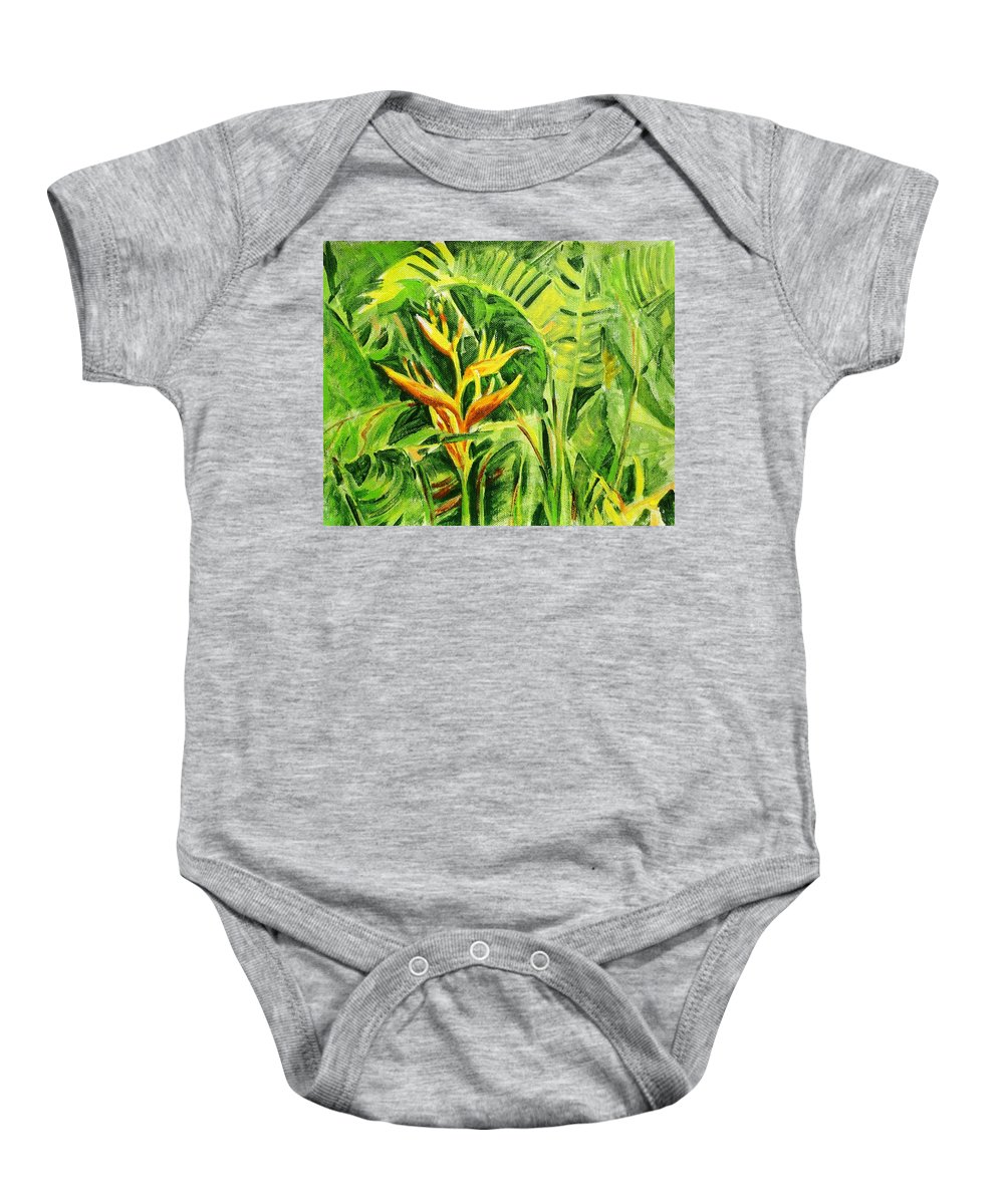 Flowers Baby Onesie featuring the painting Heliconia 8 by Usha Shantharam