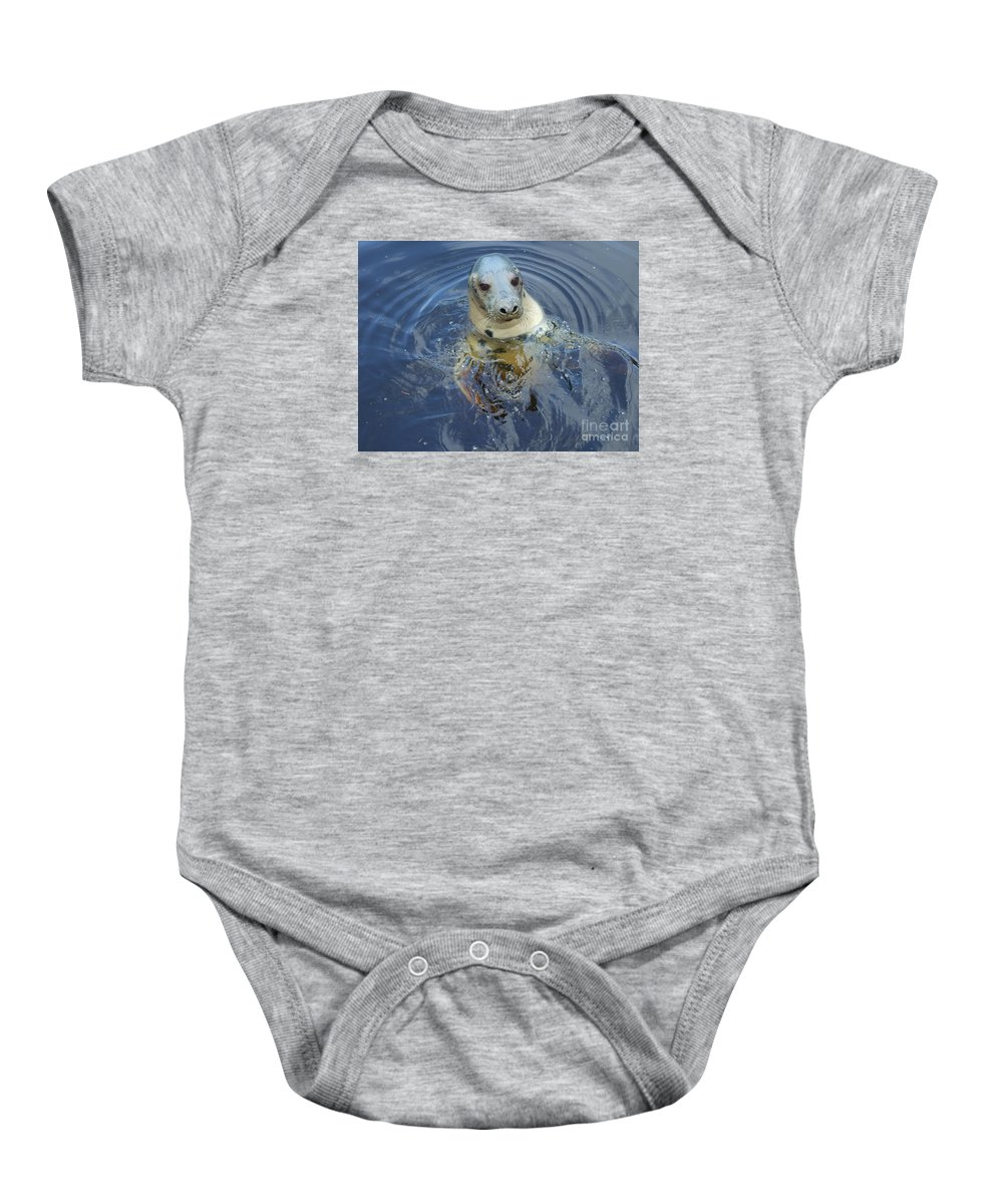 Grey Seal Baby Onesie featuring the photograph Hello by Lamont Finnigan