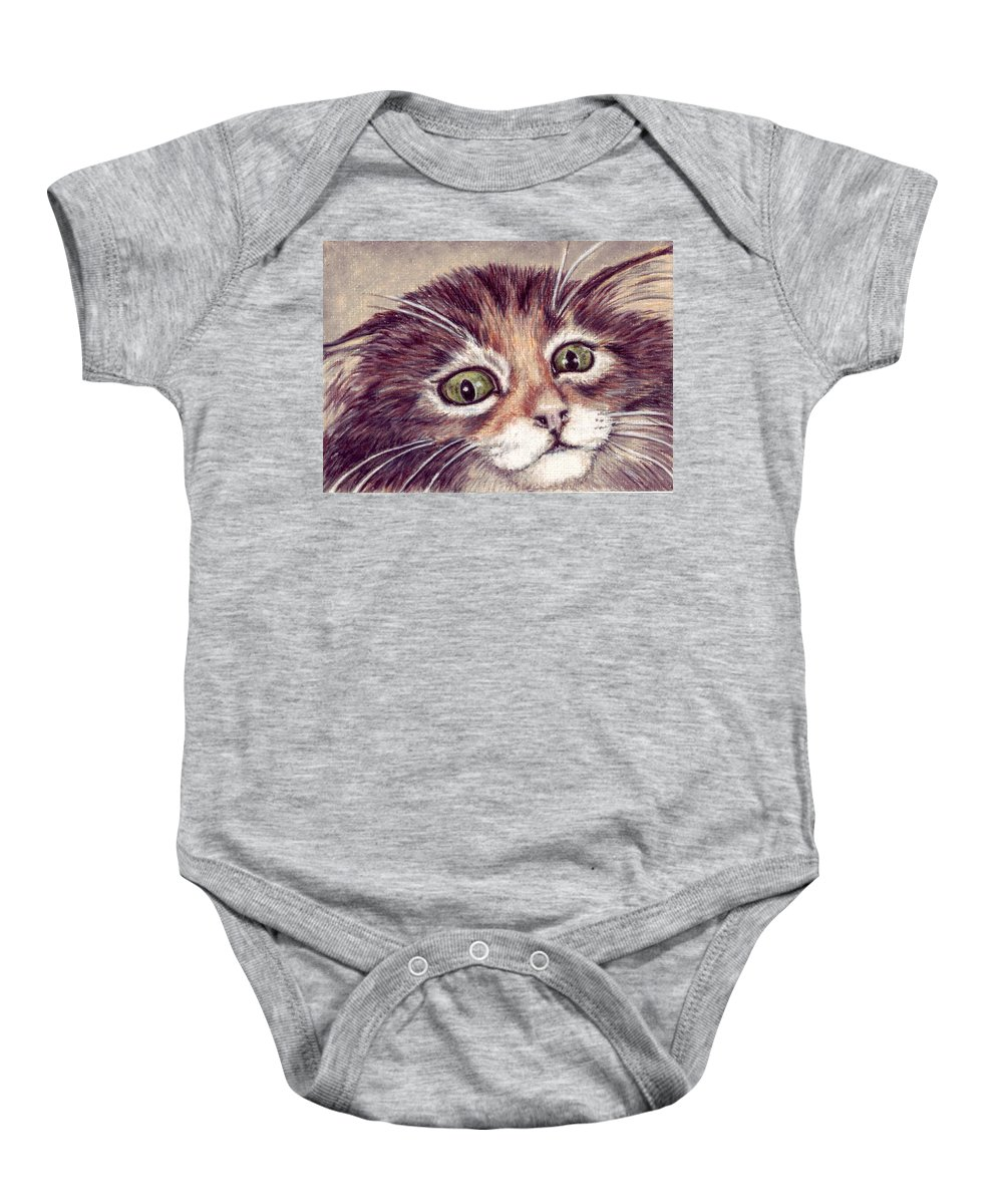 Cat Baby Onesie featuring the drawing Hello Clarice by Kristen Wesch