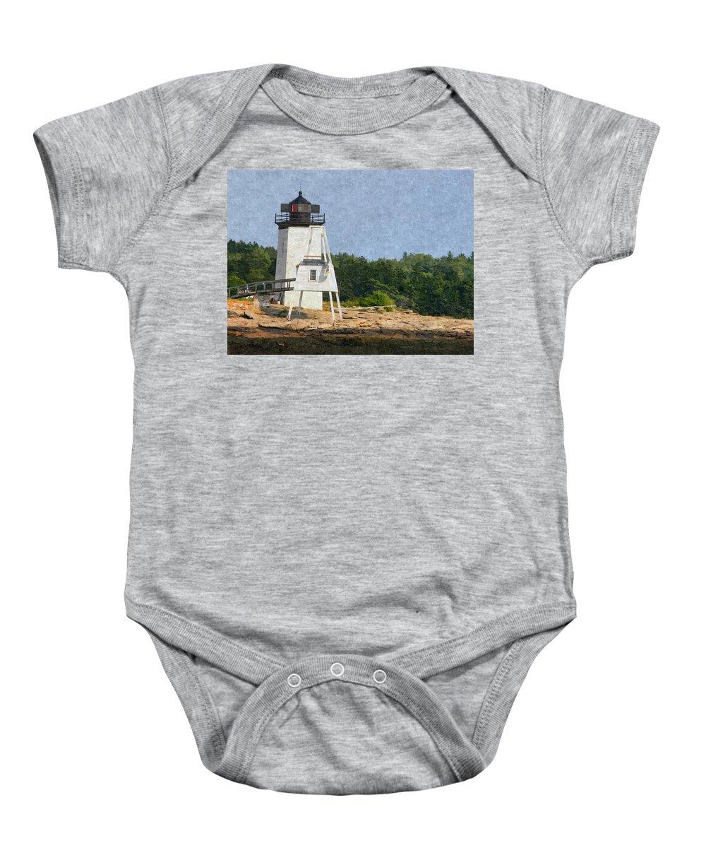 Hendrick Head Baby Onesie featuring the photograph Hendricks Head Lighthouse by Nancie DeMellia