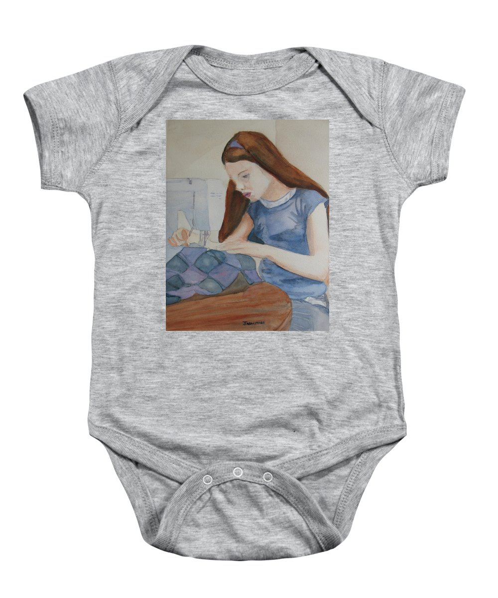 Girl Baby Onesie featuring the painting Her First Quilt by Jenny Armitage