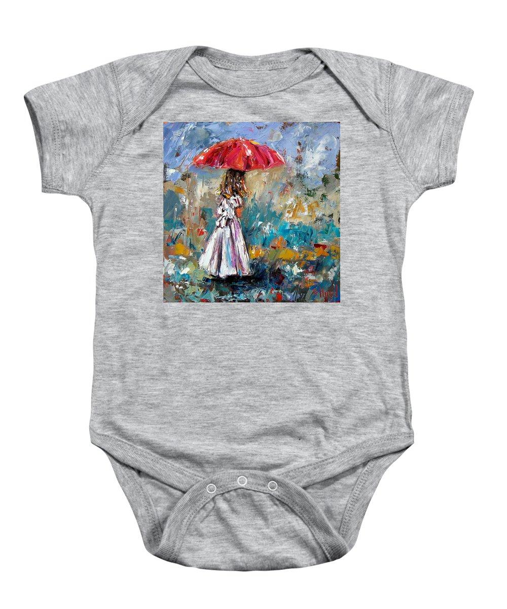 Children Art Baby Onesie featuring the painting Her White Dress by Debra Hurd