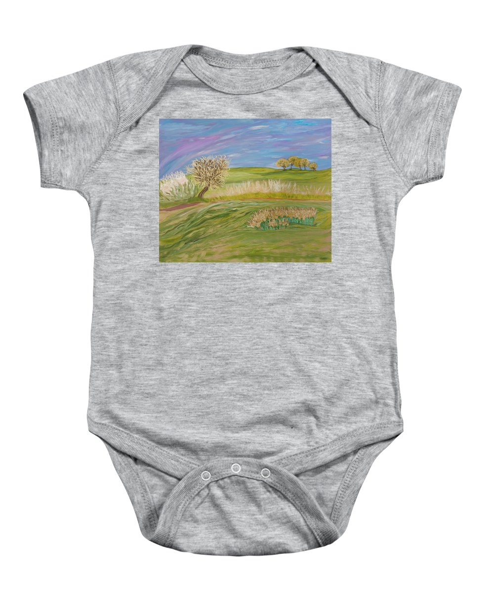 Whimsical Baby Onesie featuring the painting Hey Sugar by Sara Credito