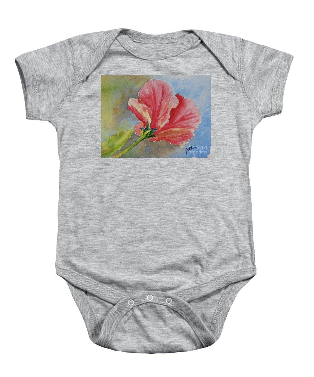 Hibiscus Baby Onesie featuring the painting Hibiscus by Gretchen Bjornson