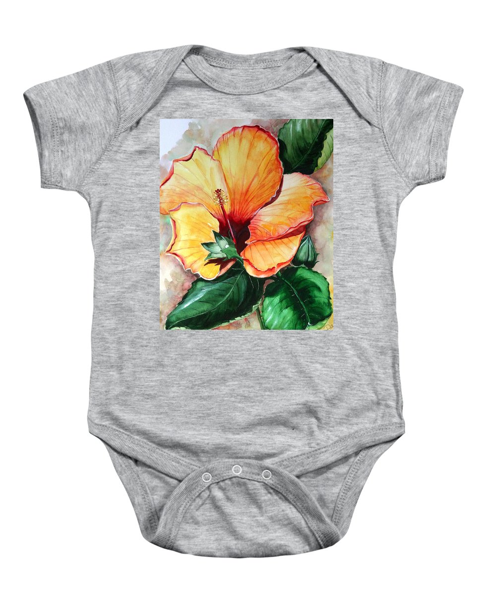 Flower Paintings Bloom Paintings Caribbean Paintings Floral Paintings Tropical Paintings Yellow Hibiscus Paintings Greeting Card Paintings Canvas Print Paintings Poster Art Paintings Baby Onesie featuring the painting Hibiscus Sunny by Karin Dawn Kelshall- Best