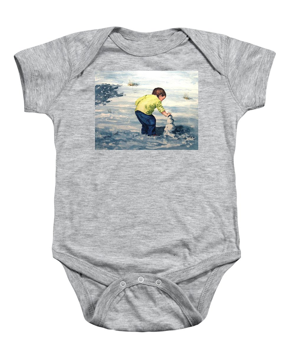 Child Baby Onesie featuring the painting High Country Snow Girl by Sam Sidders