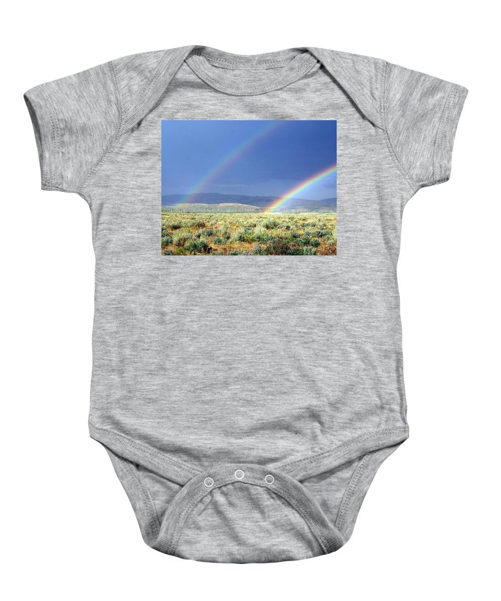 Rainbow Baby Onesie featuring the photograph High Dessert Rainbow by Marty Koch