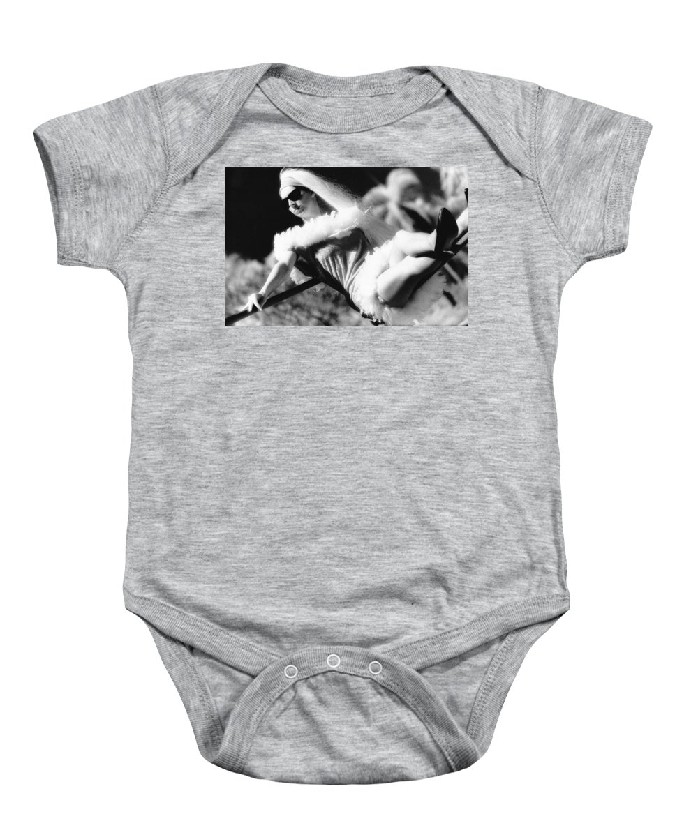 Black And White Baby Onesie featuring the photograph High Heels by Totally Talliesen