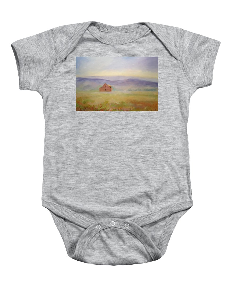 Old House In Landscape Baby Onesie featuring the painting High Lonesome by Ginger Concepcion
