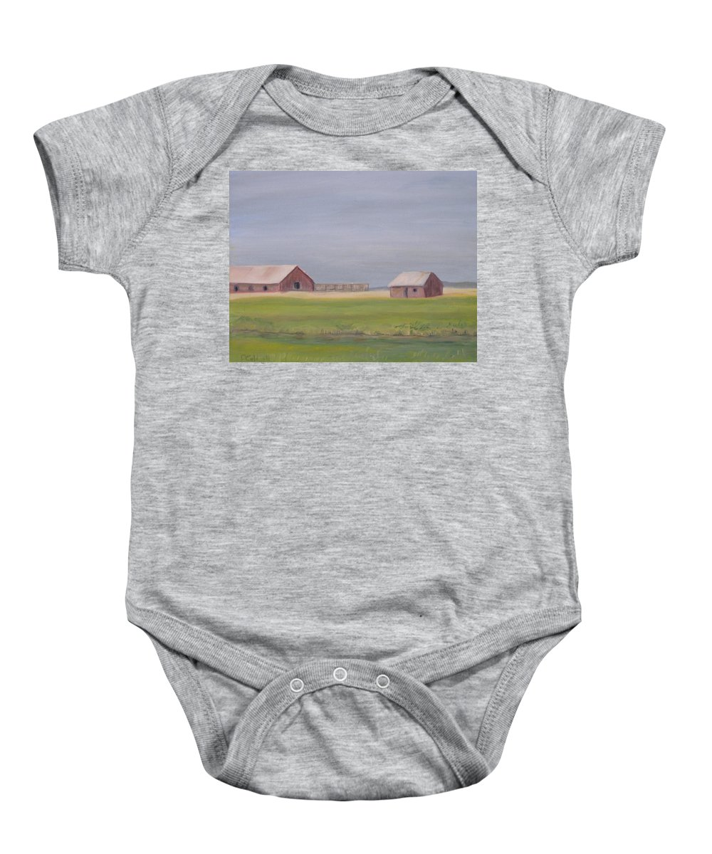 Landscape Plains Barn Baby Onesie featuring the painting High Plains by Patricia Caldwell