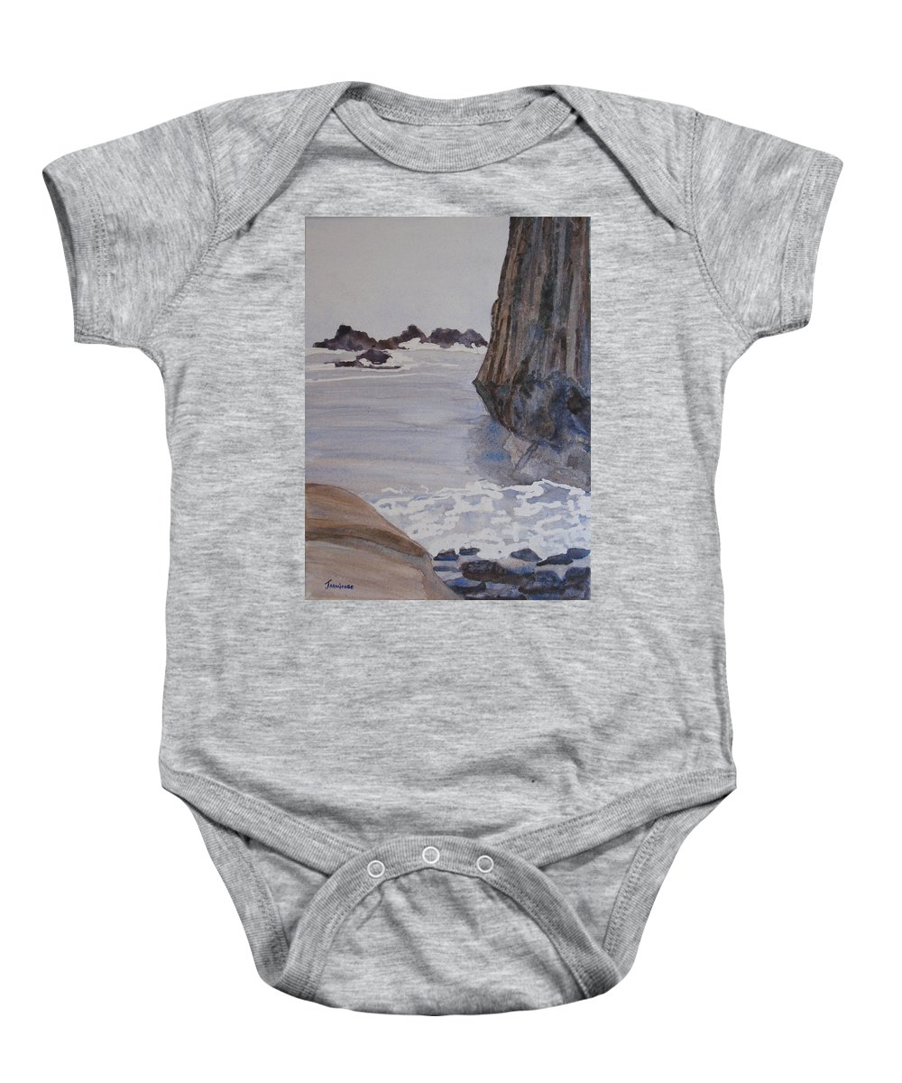 Seapcape. Seascapes Baby Onesie featuring the sculpture High Tide At Seal Rock by Jenny Armitage