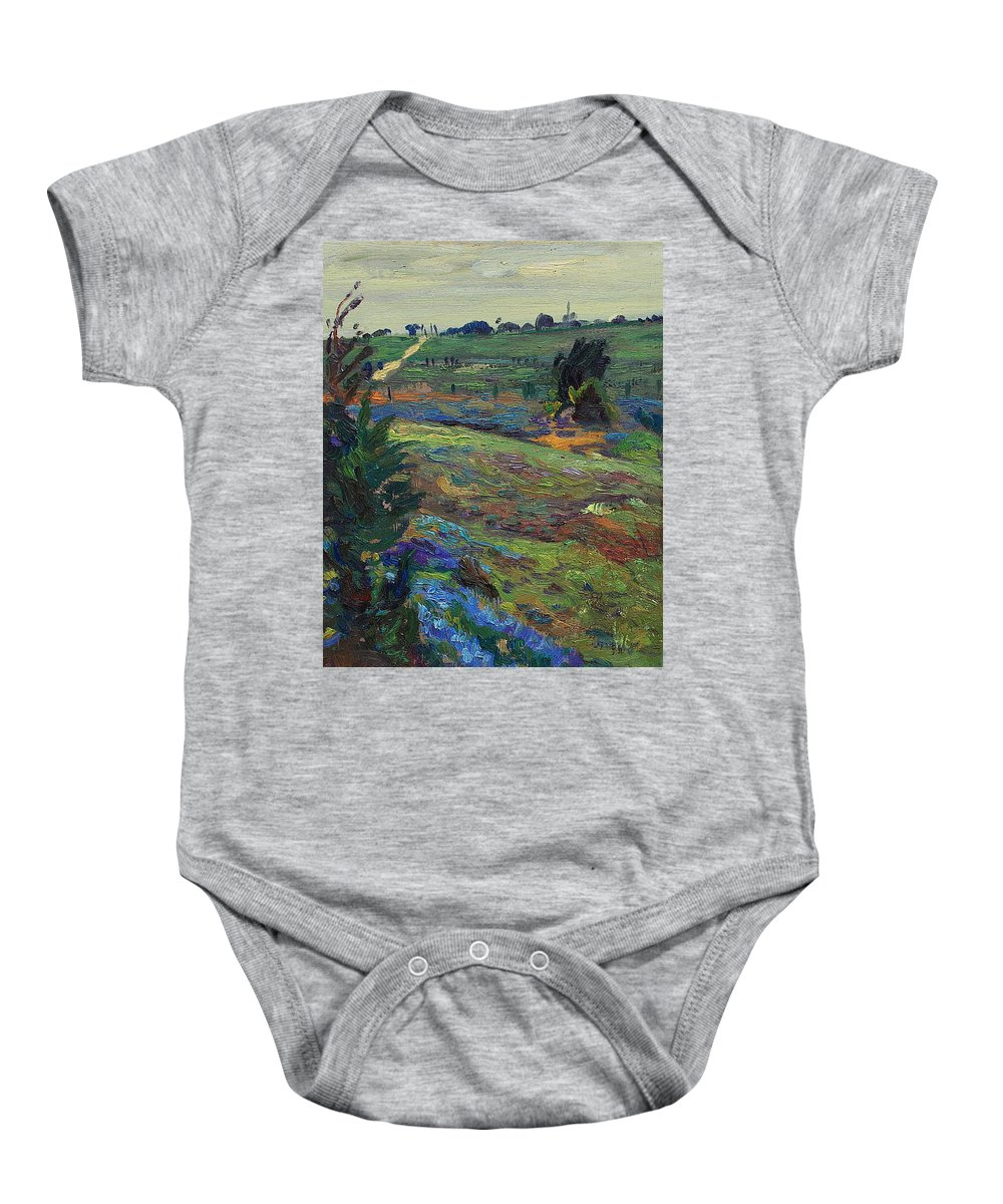 Blue Bonnets Baby Onesie featuring the painting Hills Of Joy by Maris Salmins