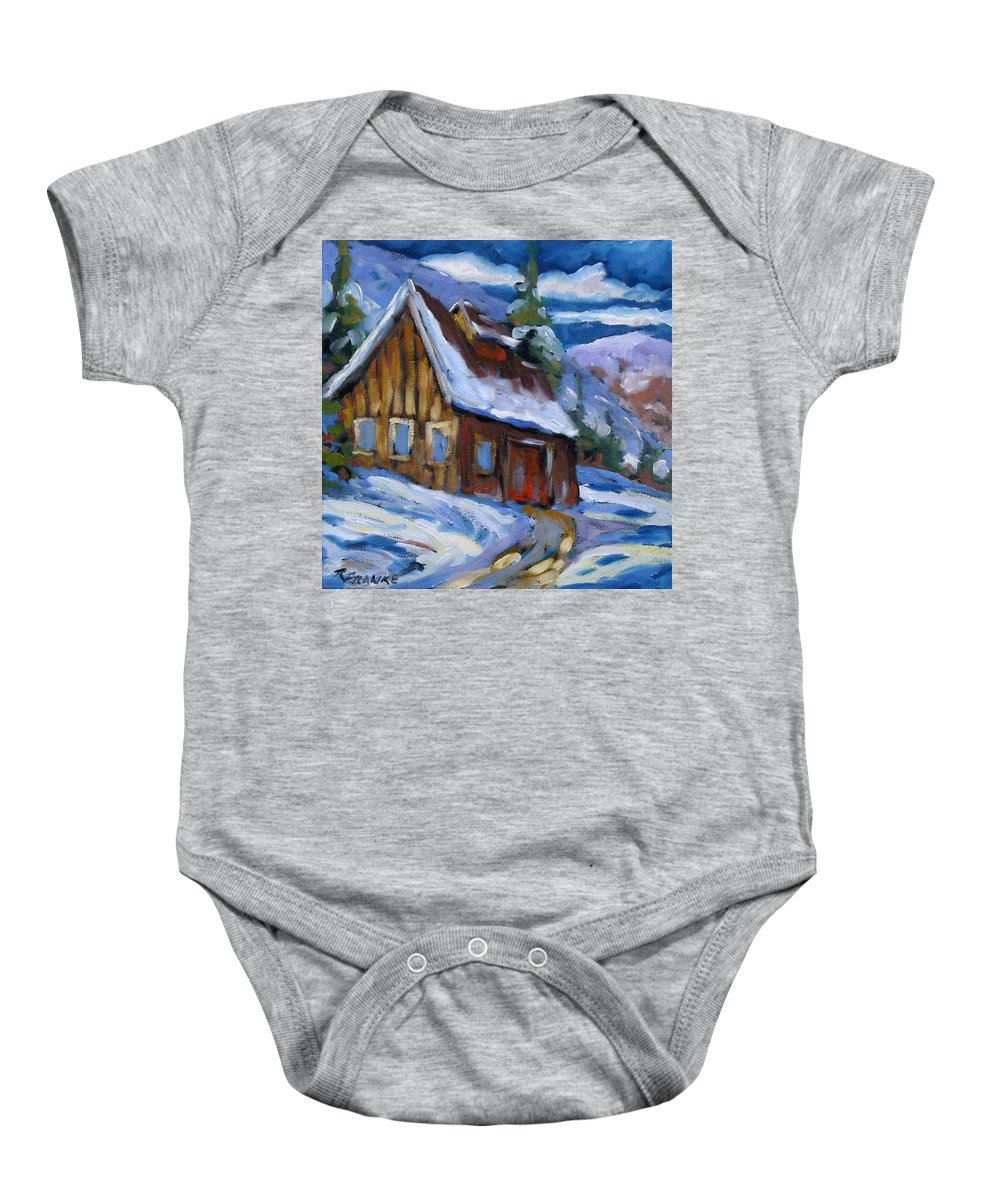 Art Baby Onesie featuring the painting Hillsidebarn In Winter by Richard T Pranke
