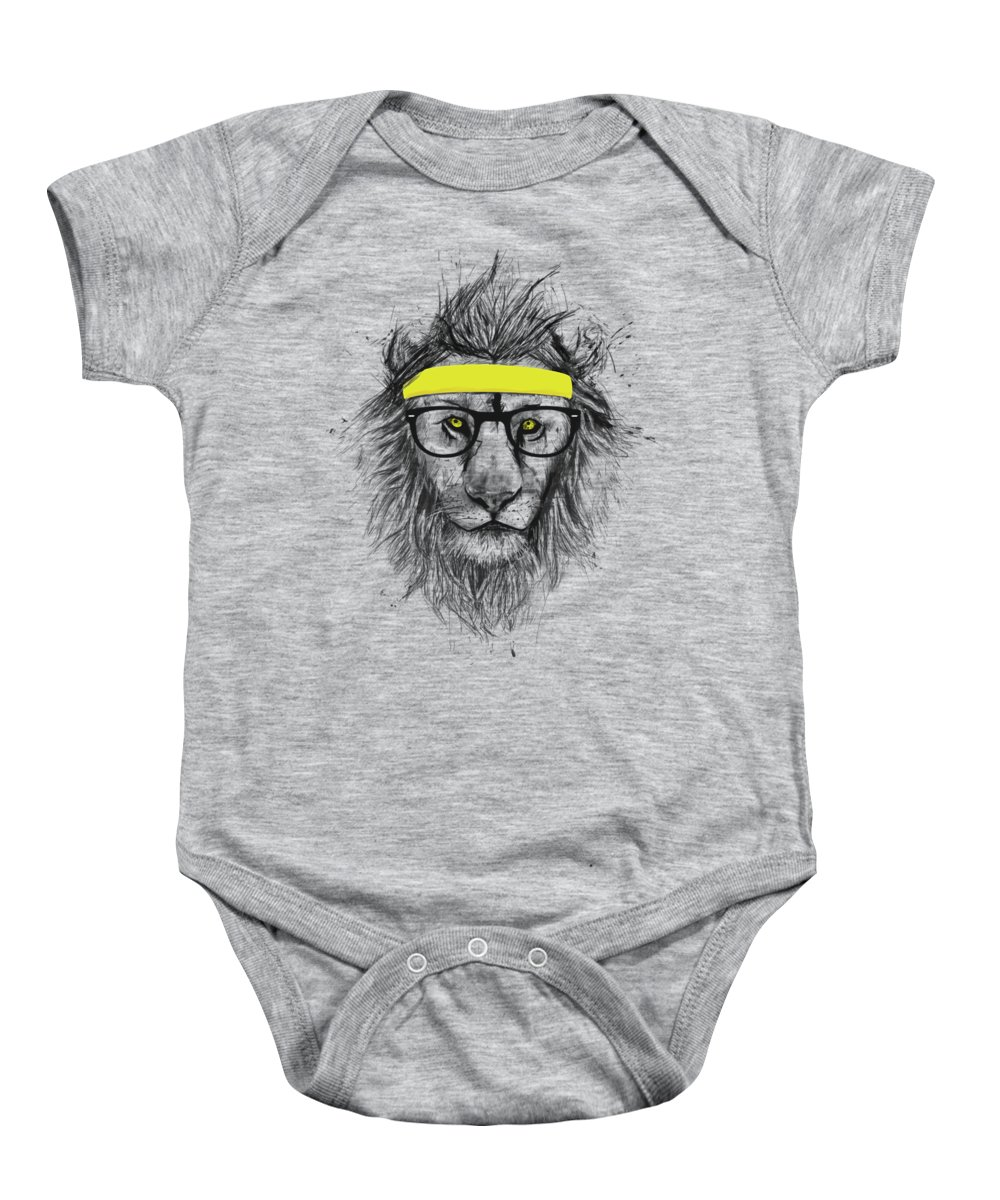 Lion Baby Onesie featuring the drawing Hipster lion by Balazs Solti
