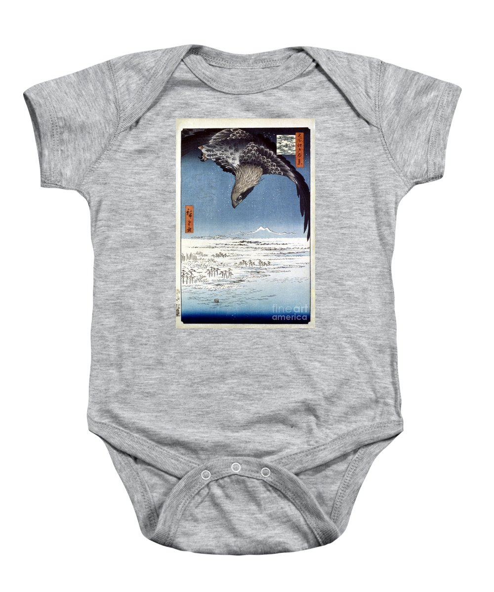 100 Famous Views Of Edo Baby Onesie featuring the photograph Hiroshige: Edo/eagle, 1857 by Granger