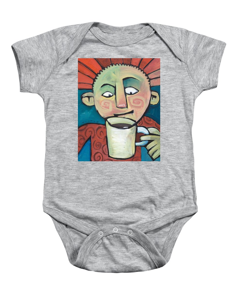 Smile Baby Onesie featuring the painting His Coffee Spoke To Him by Tim Nyberg