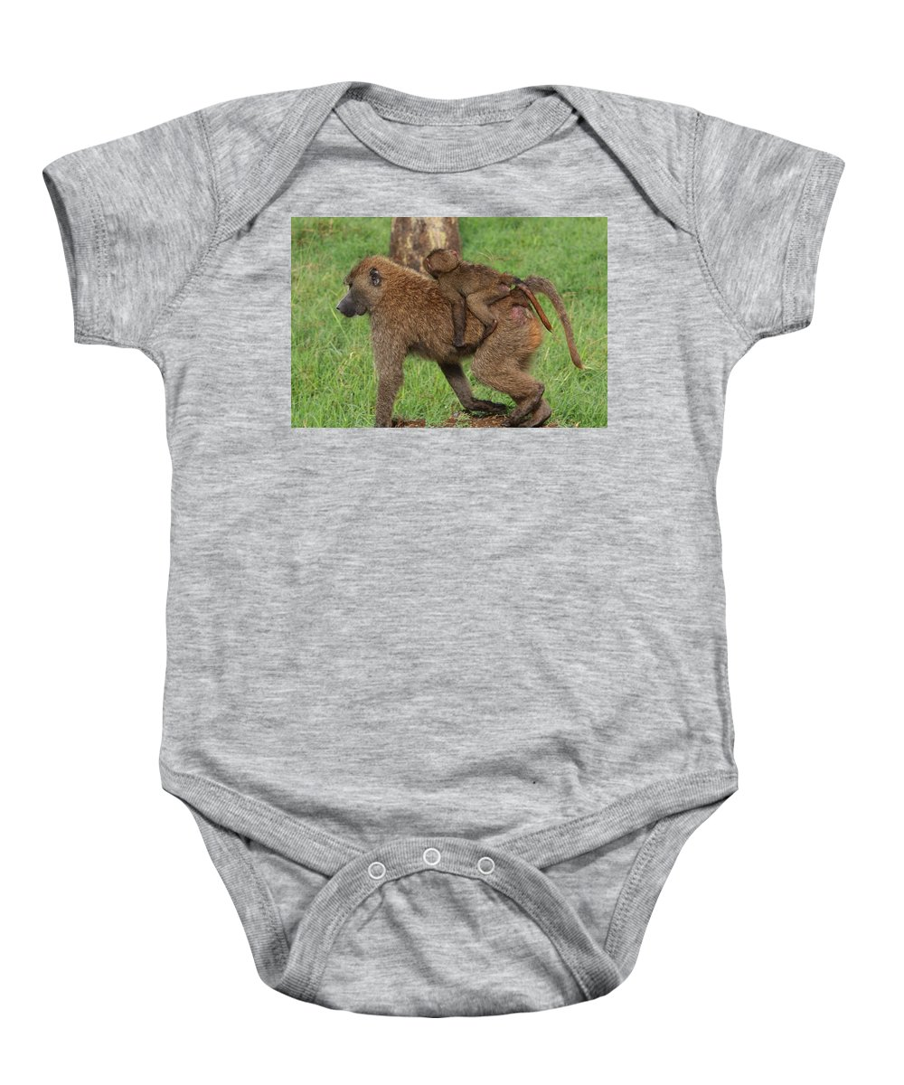 Baboon Baby Onesie featuring the photograph Hitching A Ride by Aidan Moran
