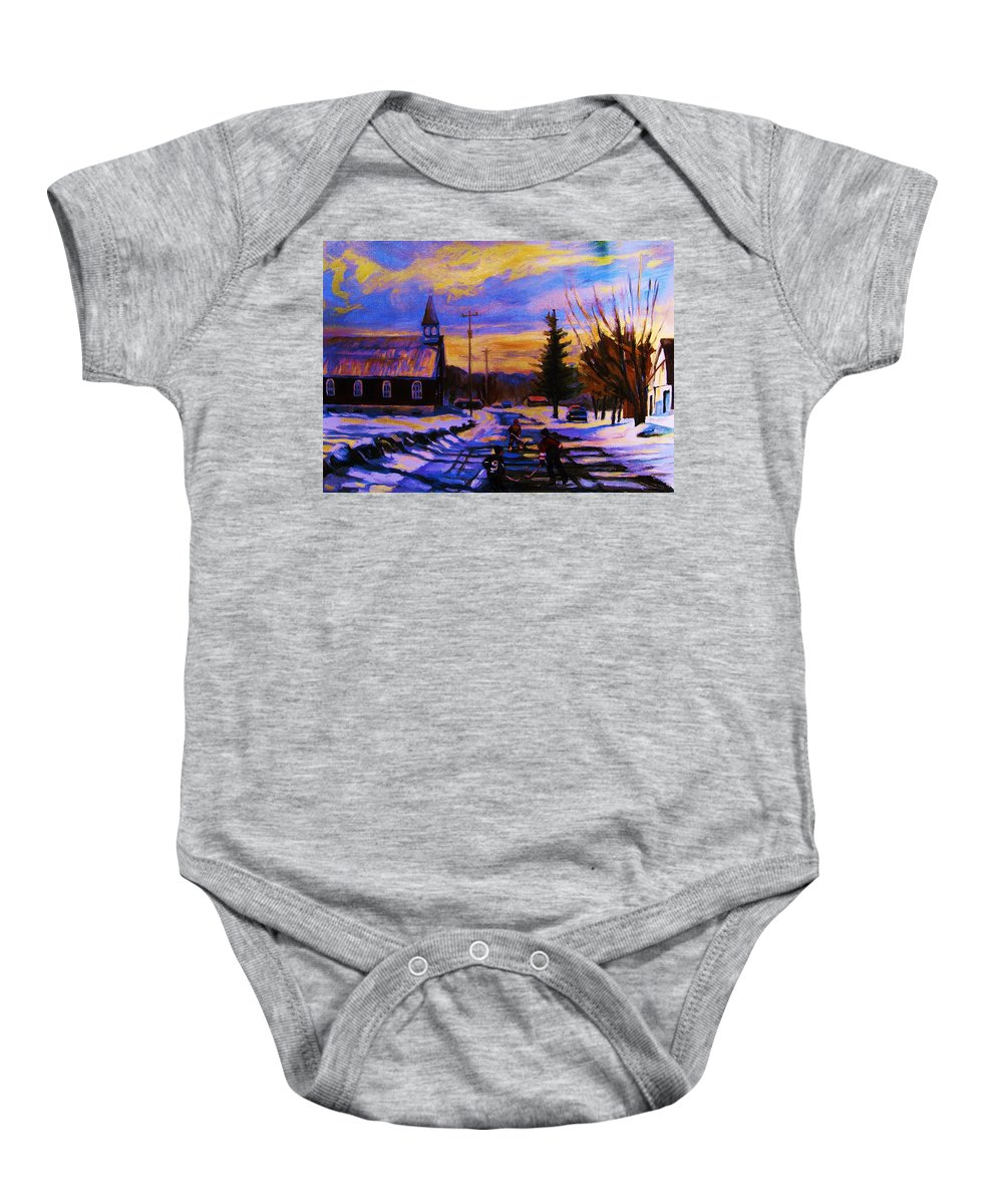 Montreal Baby Onesie featuring the painting Hockey Game In The Village by Carole Spandau