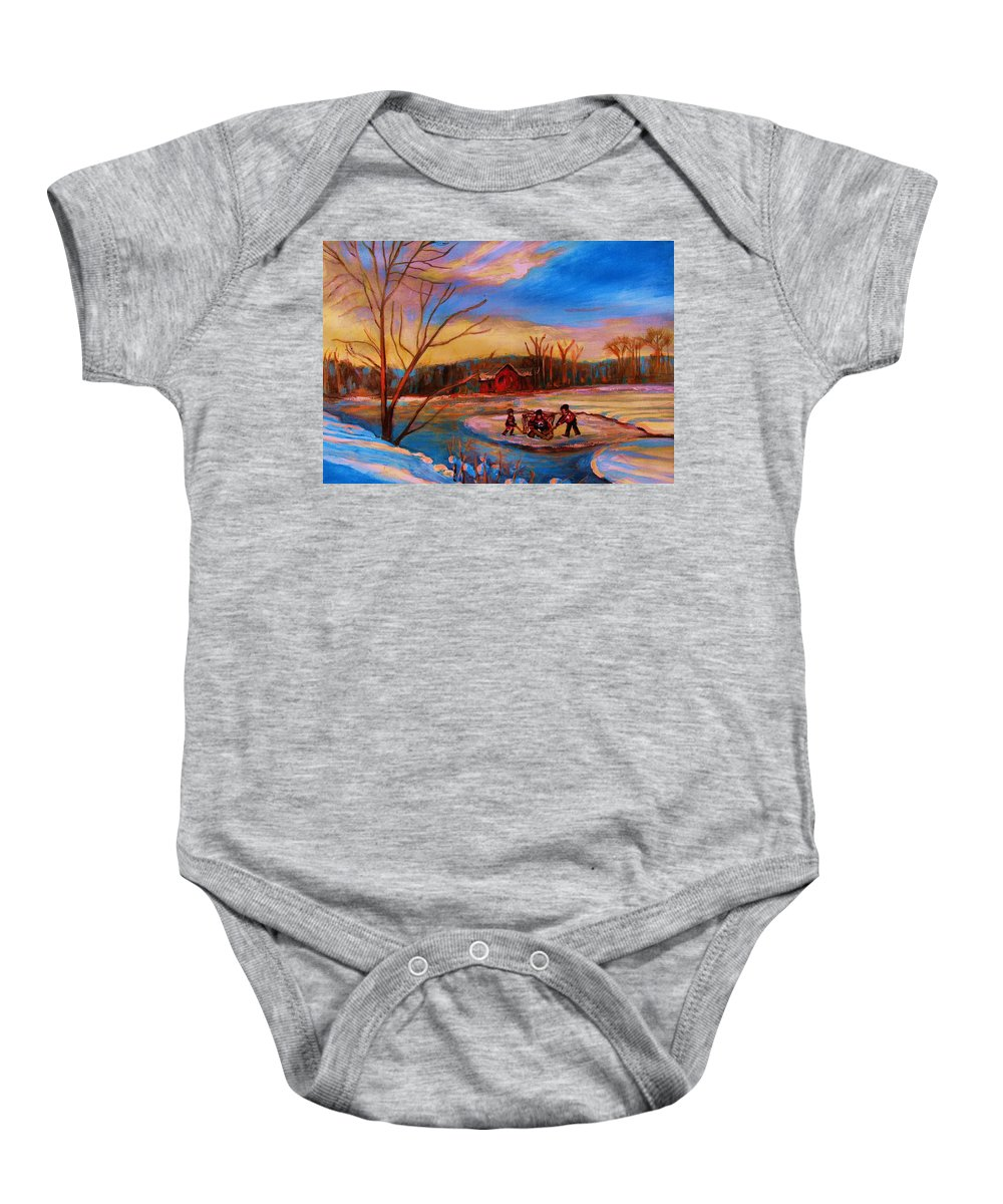 Pond Hockey Baby Onesie featuring the painting Hockey Game On Frozen Pond by Carole Spandau