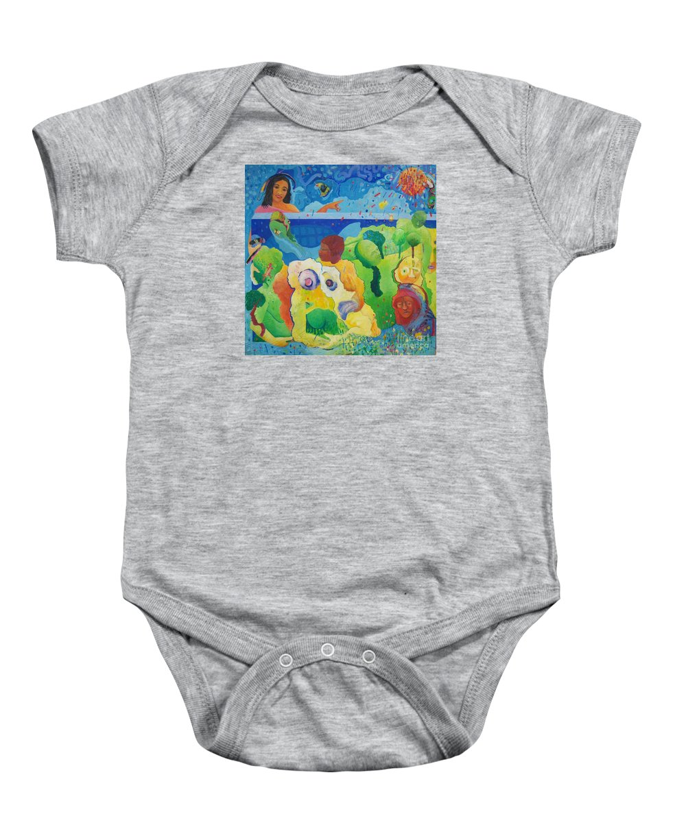 Human Relationships Baby Onesie featuring the painting Holding Lifes Illusion by Richard Heley